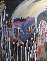 El Criminal, Original, Acrylic Oil Pastel Paint on Canvas, Murder brother,Signed