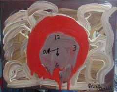 Tiempo Original, Acrylic Pastel Paint on Canvas, Clock, Time Brother Died Signed