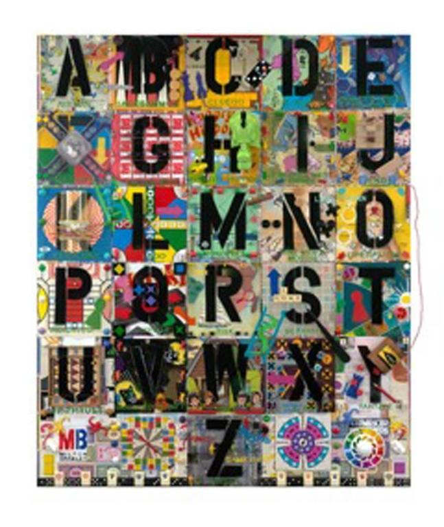 A-Z of Games, Original, Gold Leaf, Mixed Media, Stencil, Nostalgic Pop Art