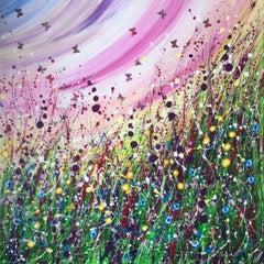 Rainbow Skies, Original on Canvas, Acrylic Paint, Meadow, Hillside, Wild flowers