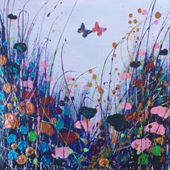 Caress, Original, Acyrlic on Card, Butterflies, Copper, Pink, Blue, Signed