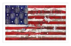 Boom or Bust Limited Edition Print of 10, American flag, Contemporary, Grenades