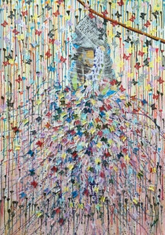 First Flight, Original, Art, Acrylic on Canvas, Explosion of Butterflies. Signed