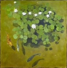 Fishpond and Lilies Original, Contemporary, Signed, Excellent Art Reviews