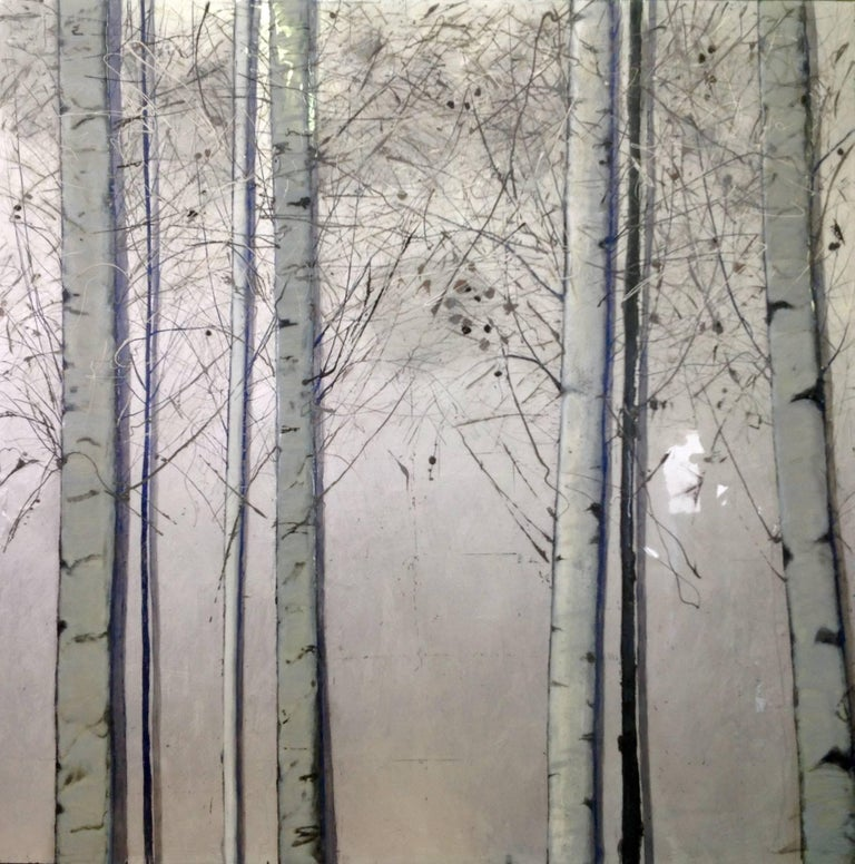 Silver Birches, Original, Oil paint on Canvas, Landscape, Exemplary Art Review - Mixed Media Art by Lydia Bauman