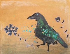 Dancing Raven, Original, Blue Black Raven, Gold, Paper, Mermaid Glitter, Signed