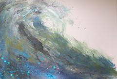 Wave, Original, Paper, Acrylic Paint, Paper, Enamel, Mermaid Lagoon Glitter