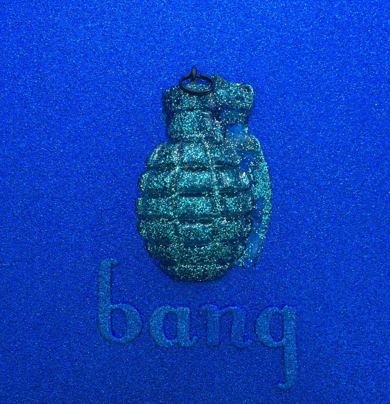 Bang Blue Original, Handcast, Resin from an Antique Grenade, Personally Signed