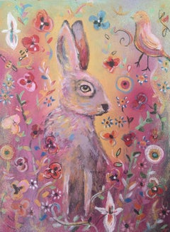 Hare on Gold, Original, Hare, pink and gold floral design, quirky bird, Signed