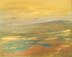 Golden land, Original, Acrylic Paint on Board, Landscape, Gold Yellow. Signed.