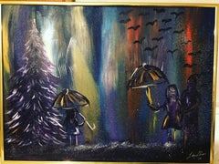Family in Despair, Original, Acrylic Oil and Spray Paint on Masonite Board