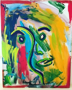 La Cara. Original. Face, Acrylic Oil Pastel on Canvas,Vibrant, Abstract, Signed.