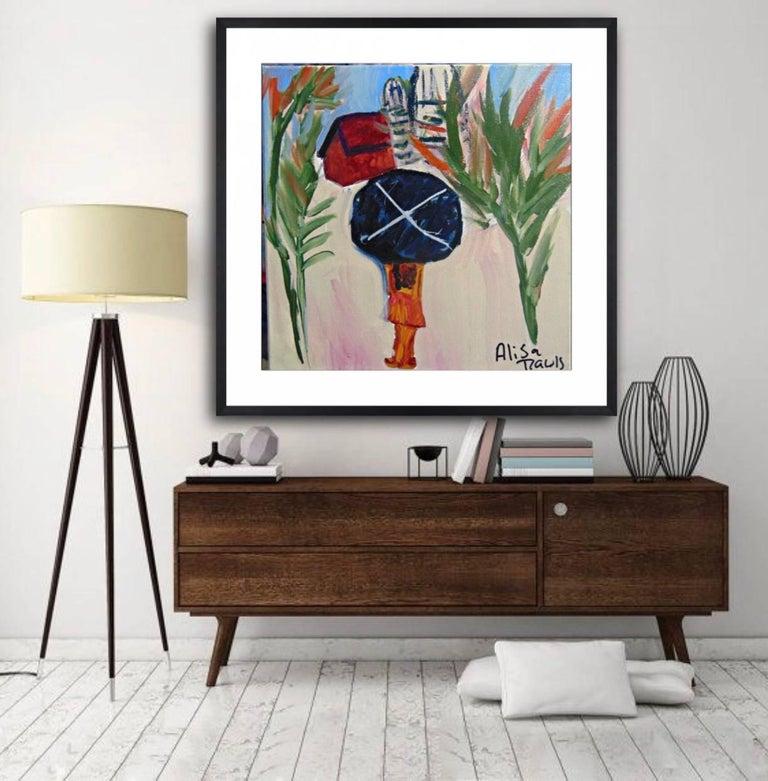 La Nina Y La Sombrilla. Original. Acyrlic Oil Paint on Canvas, Signed. Abstract - Painting by Alisa Rawls