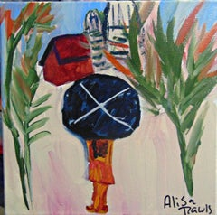 La Nina Y La Sombrilla. Original. Acyrlic Oil Paint on Canvas, Signed. Abstract