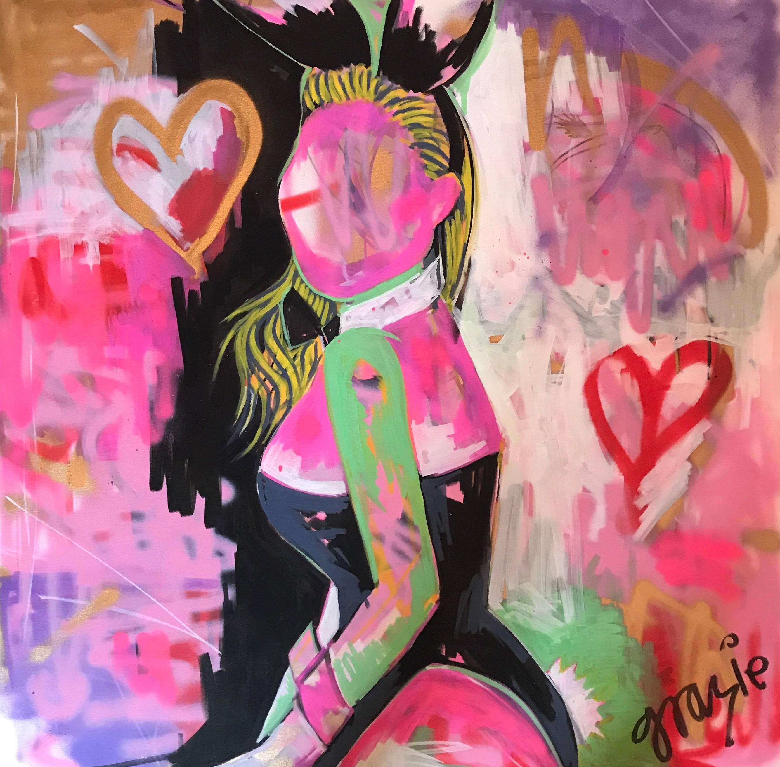 Everything but the Bunny. Bunny Girl, HeartsOriginal. Acyrlic on Canvas, Signed.