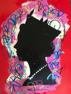 Graffiti Queen. Original. Acrylic on Canvas,Hand Embellish Graffiti Tags, Icons