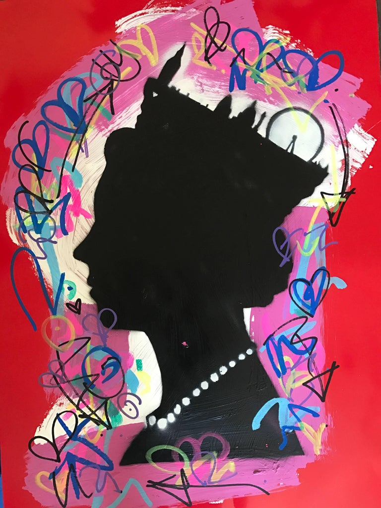 Graffiti Queen. Original. Acrylic on Canvas,Hand Embellish Graffiti Tags, Icons
