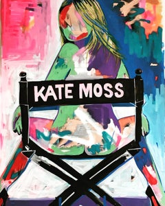 Kate Moss. Original. Acrylic on Canvas, Directors Chair, Lui Magazine, Signed.