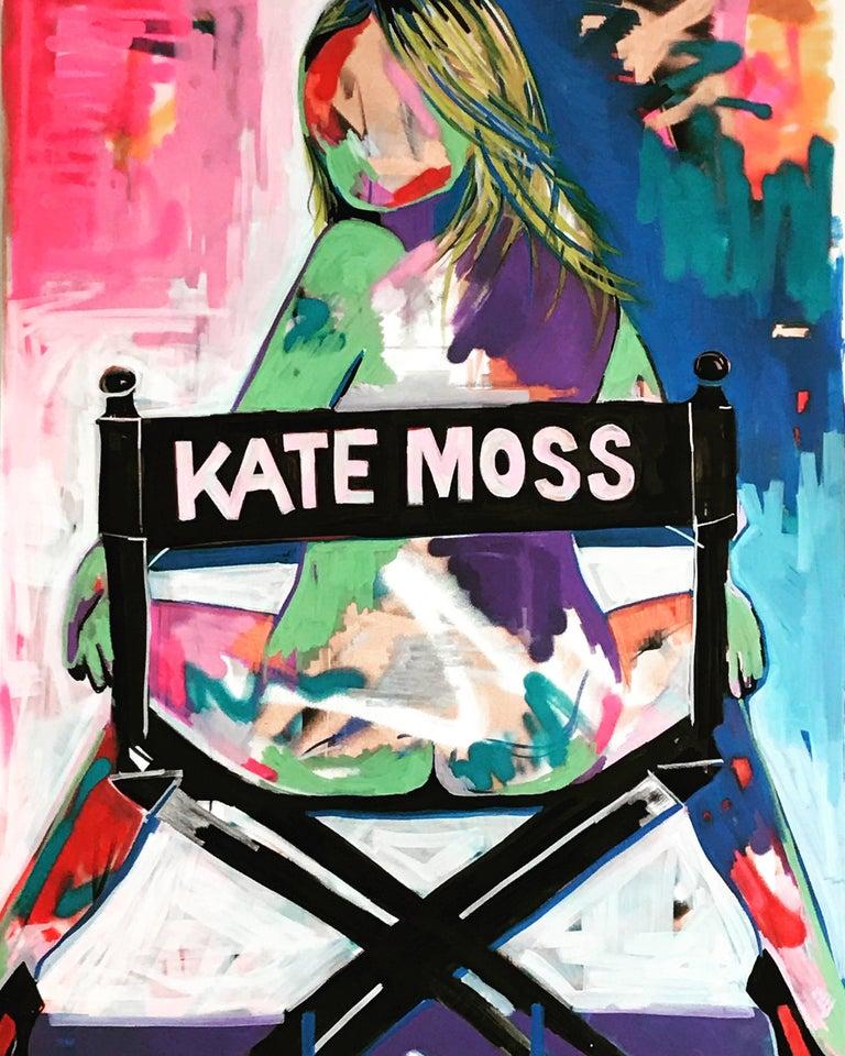 Kate Moss. Original. Acrylic on Canvas, Directors Chair, Lui Magazine, Signed.