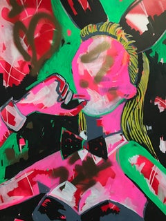 Kate Moss Bunny Original. Acrylic on Canvas, Play boy, Bunny Girl, News, Signed