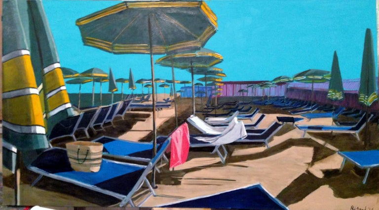Still Life With A Pink Towel. Original. Oil Paint on Canvas set in Italy, A glorious seaside scene, with sun beds all lined up ready to receive the sunbathers. The bright blue of the sky, works harmoniously with the other blues of the beds and