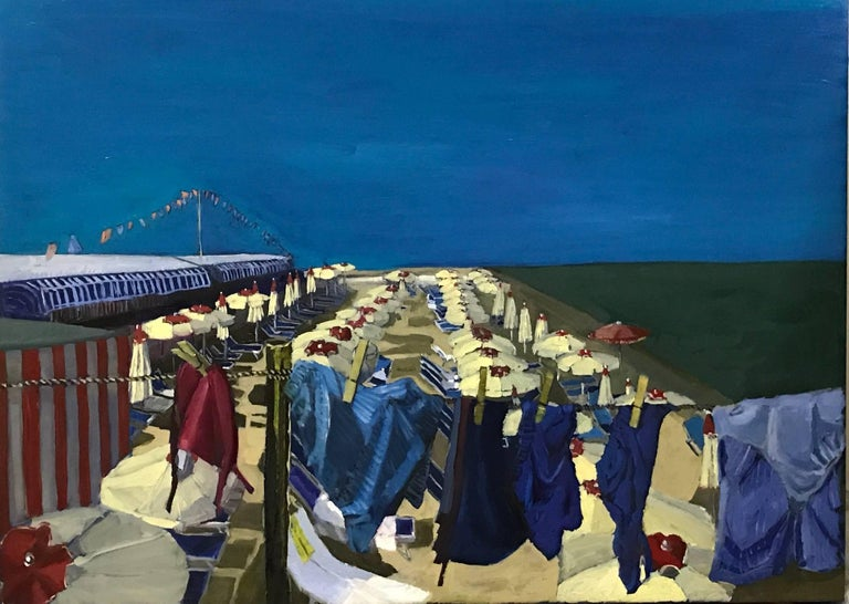 Still Life With Pink Bikini is an Original. Oil Paint on Canvas, A Beach View set in Italy This is a wonderful beach scene, with all the swimsuits hanging out to dry ready for a swim. The colours Burger uses are harmonious, brown, blue and pink.