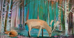Deer in the Blue Woods, Digital Limited Edition Print of 20. Diamond dust Signed
