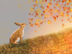 Watch the Leaves, Rabbit, Leaves in the breeze, Golden glow. Signed. Embellished