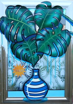 70s Cheese, Mirror, Acyrlic Paint, Fern Leaves, Blue Vase, Round Stripes, Mosaic