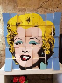 Be Happy, Marilyn, Conceptual, Wooden Blocks, Original, Cotton Paper, Signed