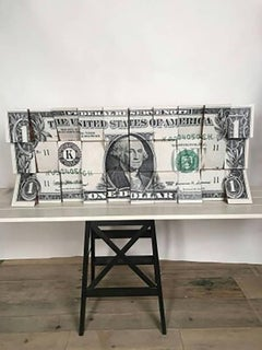 One Dollar, Wooden Blocks, Ink Jet, Original, Conceptual, Contemporary Art Sign