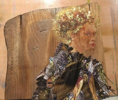 Antonia, Wood, Gold Leaf, Beautiful Woman, Auburn Hair, Varnish, Signed Dated