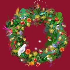 Christmas Wreath Hostess Gift Instead of Christmas Card Print Happy Holidays