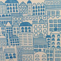 Doodle Cities, White with Blue