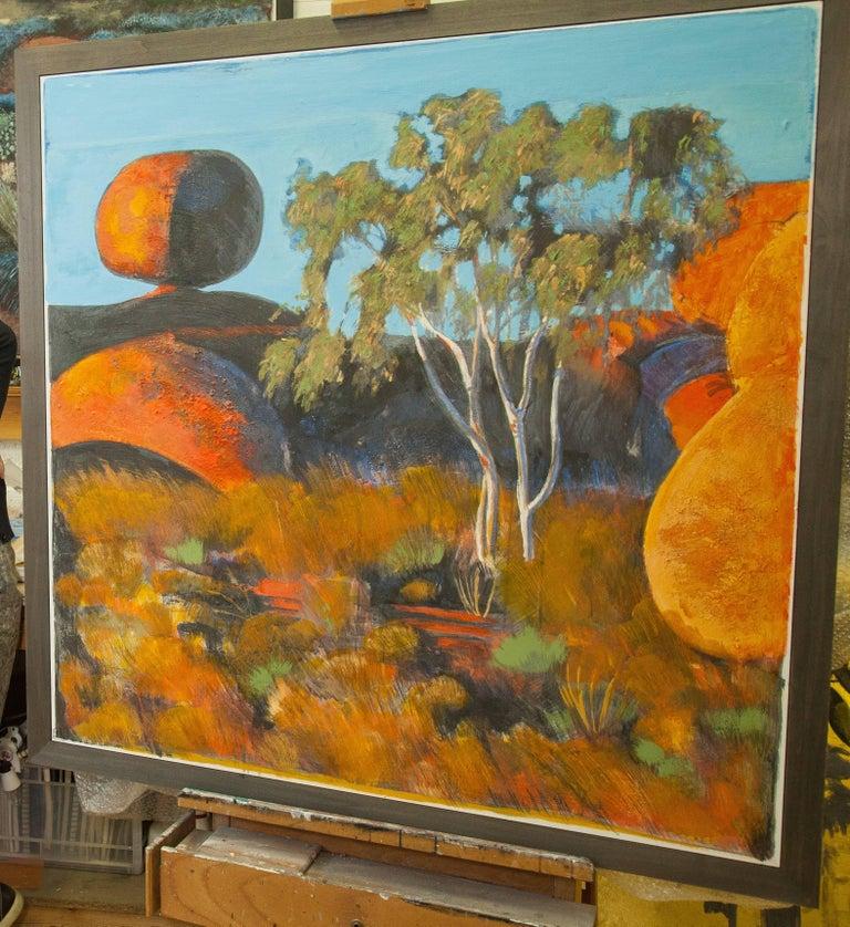 Devil's Marbels, Landscape, Contemporary, Original, Plaster, Personally Signed. For Sale 1