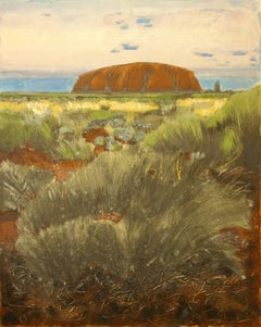Uluru at Sunset 3, Original, Landscape, Oil, Signed. Excellent Art Review