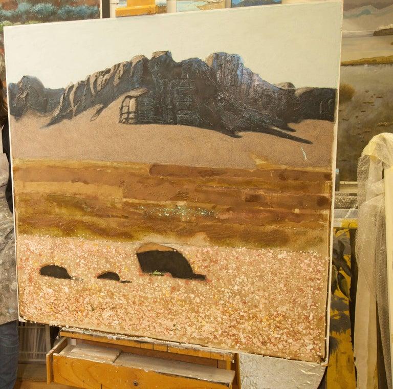 Flowering Desert, Morocco, Landscape, Oil, Canvas, Signed. Excellent Art Review