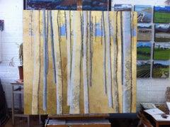 Golden Wood. Original, Gold Leaf, Oil on PanelLandscape, Exemplary Art Reviews,