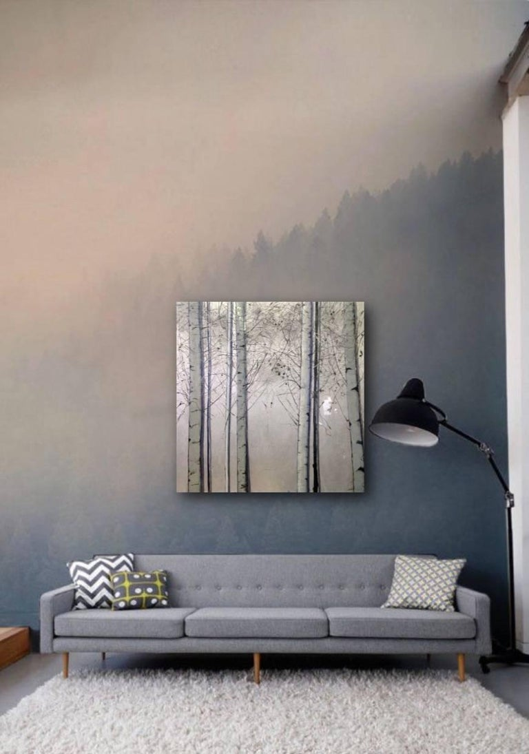 Silver Birches, Original, Oil paint on Canvas, Landscape, Exemplary Art Review - Naturalistic Mixed Media Art by Lydia Bauman