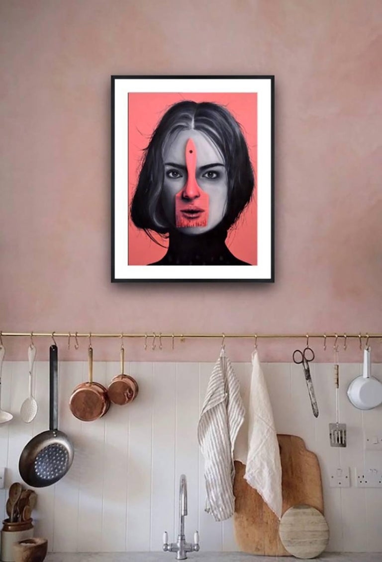 """Born in 1986, Alex Acheval's work can be described in many different categories, especially contemporary portraiture. With the added uncharacteristic element or found object seen throughout the """"paintbrush girl"""" series, in which wooden brushes are"""