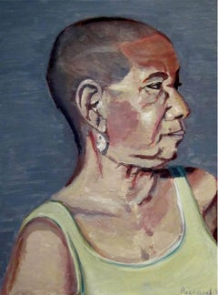 Rajna. Original. Oil Paint on Board, New York woman, Eccentric, Signed.