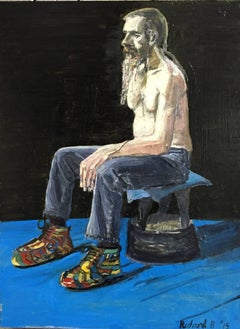 Mike Likes His Shoes and So Do I. Original. Oil Paint on Canvas, Man, Signed.