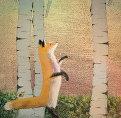 Watch. Tree Fox, Rose Gold Texture,Mixed Media Limited Edition Print 20 Signed.