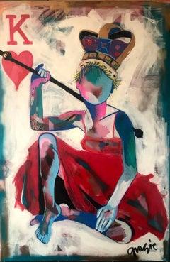Queen of Hearts, Original. Oil on canvas Original 21st Century Contemporary Art