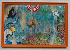 Fish Tank Painted on disused advertising print from office in Austria. Signed.