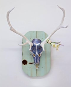 Griffin Original, Authentic stag skull and horns, acrylic, silver leaf and resin