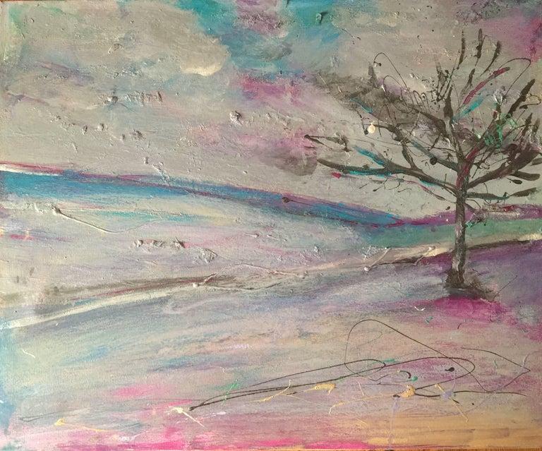 Original Landscape, Original, Metallic Silver and Blue, Purple on Canvas, Signed
