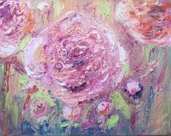 Peony, Original, Oil Paint on Box Canvas, Flower, Softest Pinks, Diamond Dust