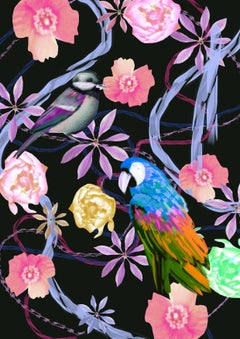 Parrot and Finch Limited Edition of 20, Pink and Purple Tropical flowers Signed