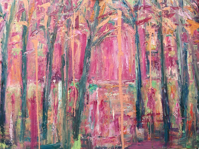 Claire Westwood Landscape Painting - Woods, Original, Oil Paint on thin box canvas, ready to hang, pink woods, Signed